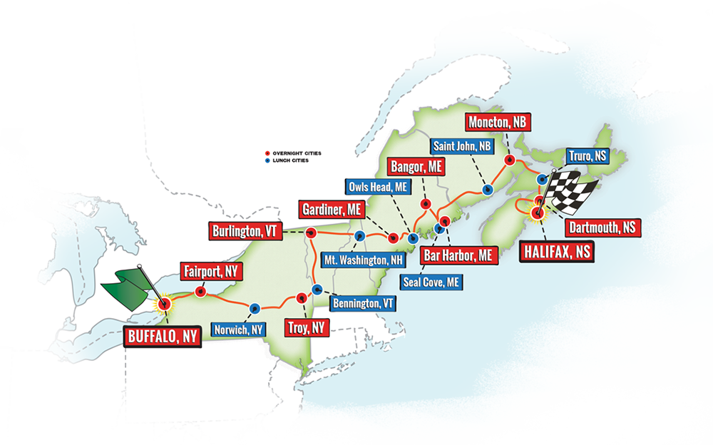 Map of the 2018 Great Race route