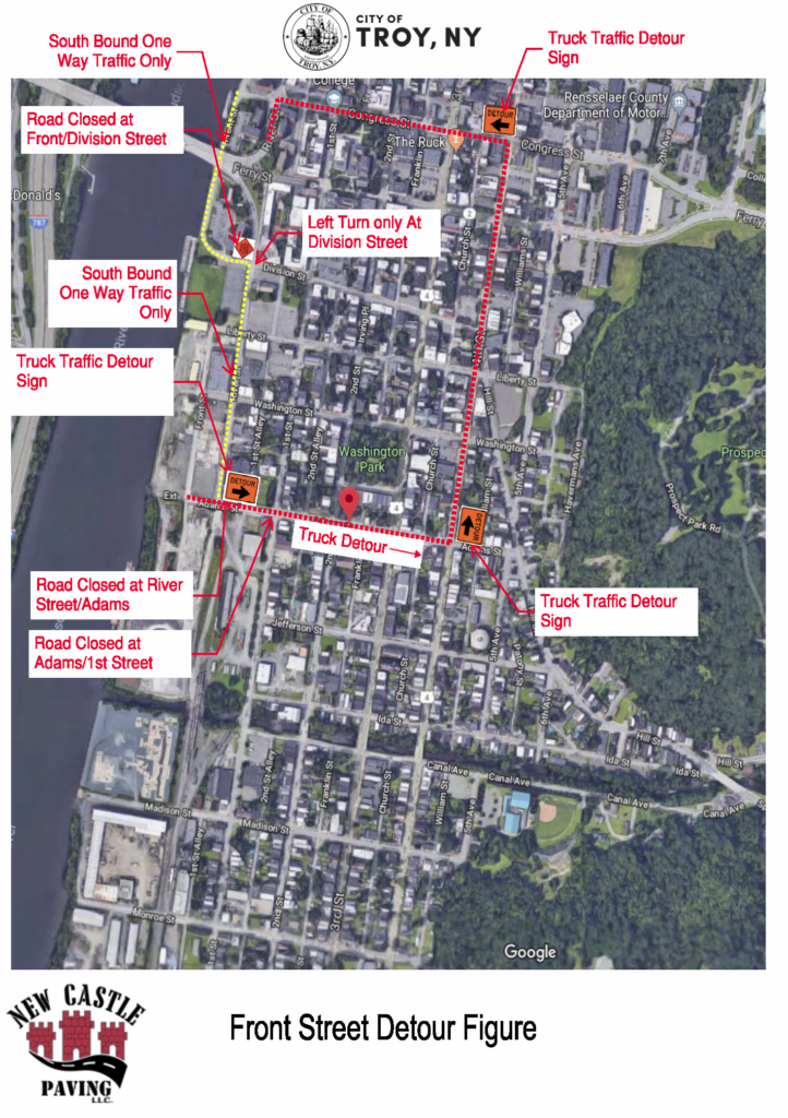 Map of traffic detours associated with the Uncle Sam Trail extension project