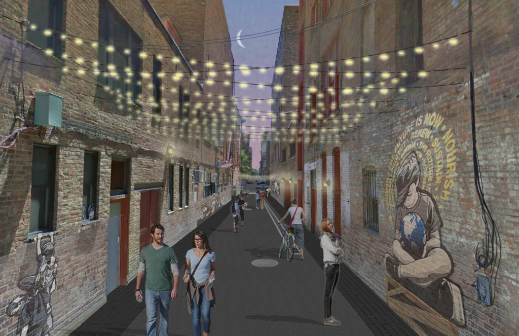 Rendering of Franklin Alley with murals.