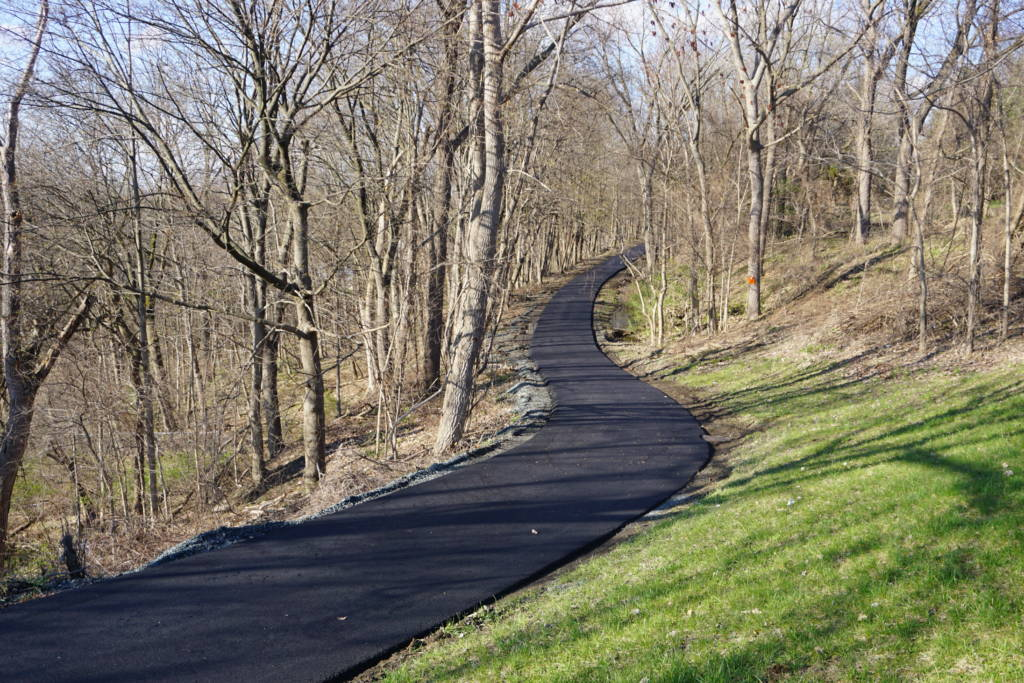 A narrow, paved bike path in a wooded area.