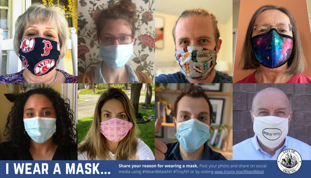Photos of 8 individuals wearing face masks. The photos are displayed in a grid. Text reads I Wear a Mask...