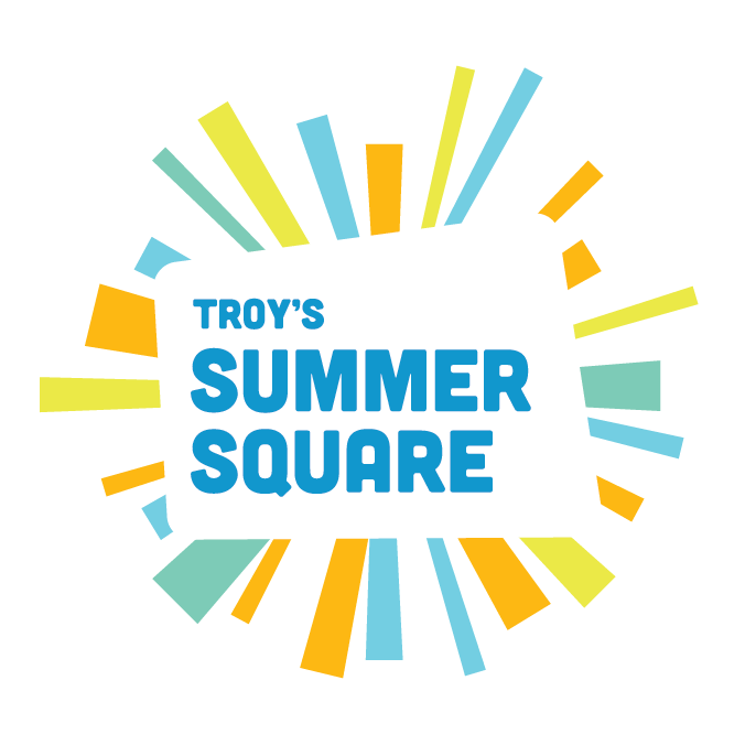 Summer Square logo. Text with radiating images of colored rectangles pointing outward, giving the image an appearance of the sun.