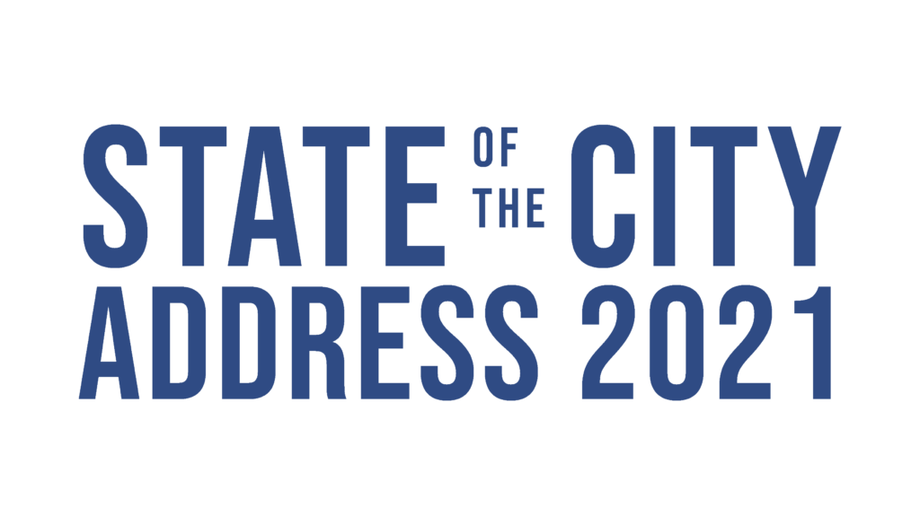 Blue text against a transparent background. Text reads State of the City Address 2021