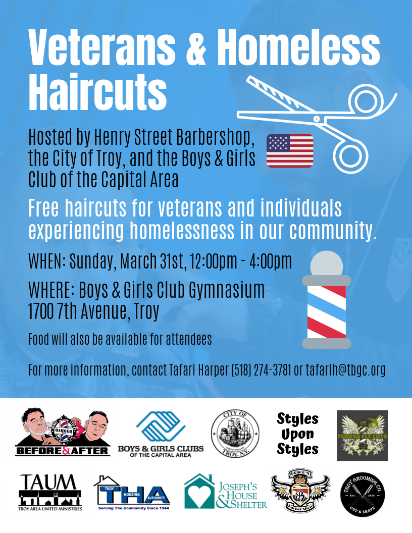 MEDIA ADVISORY | Boys & Girls Club, Local Barbers Offer Haircuts to Veterans, Homeless in Troy