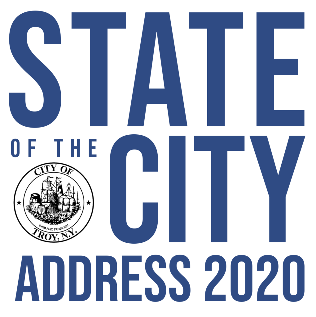 State of the City Address logo written in blue text. The City seal is contained within the text.