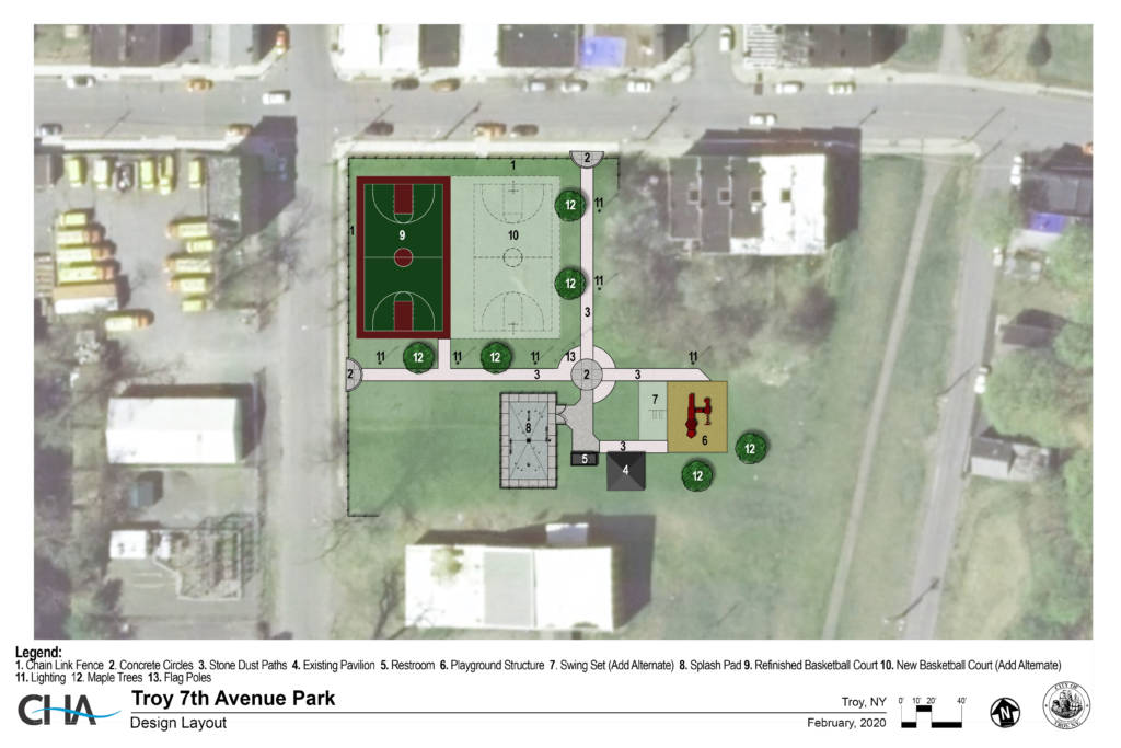 Engineering rendering and layout for 7th Avenue Park