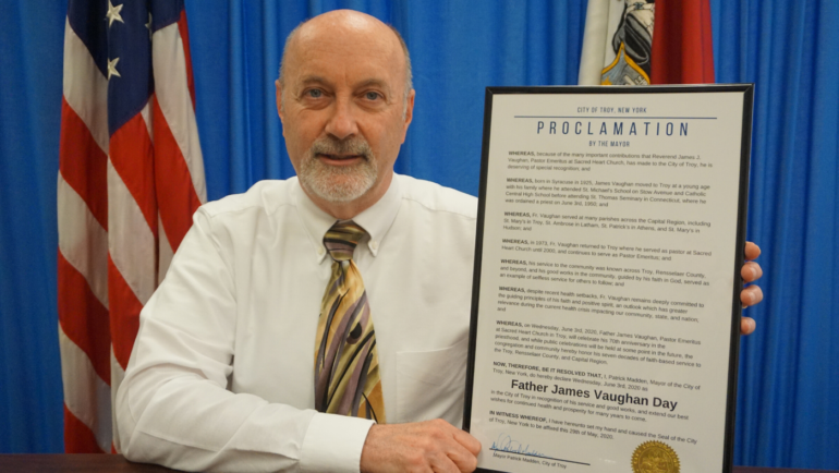 Mayor Madden Issues Proclamation Honoring Fr. James Vaughan on 70th Anniversary of Ordination