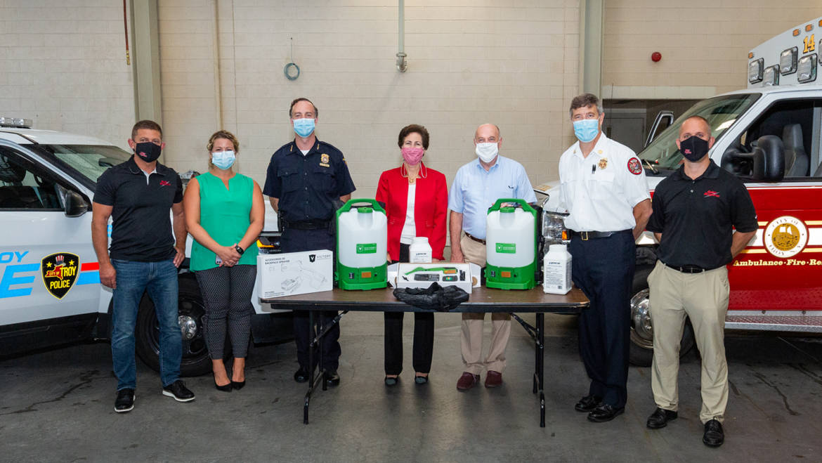 Troy Police, Fire Departments Receive Sanitizing Sprayers from MVP Health Care, CDPHP, Quick Response